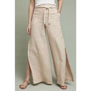NWOT Anthro Elevenses Linen Wide Leg Belted Pants